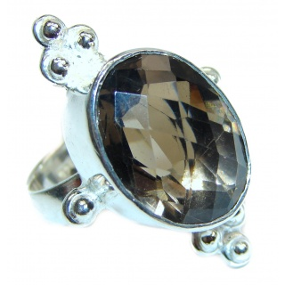 Very Bold Champagne Smoky Topaz Ruby .925 Sterling Silver Ring size 8 1/2