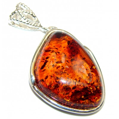 Unforgettable Beauty Honey Baltic Amber .925 Sterling Silver handmade Pendant