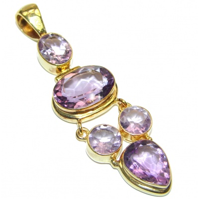 Lilac Blessings spectacular 64.3ct Amethyst 18K Gold over .925 Sterling Silver handcrafted pendant