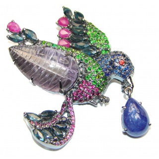 Large Beauty genuine Sapphire Emerald Ruby .925 Sterling Silver handmade Pendant - Brooch