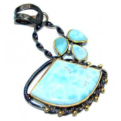 Best quality Authentic Caribbean Larimar 18K Gold over .925 Sterling Silver handmade pendant