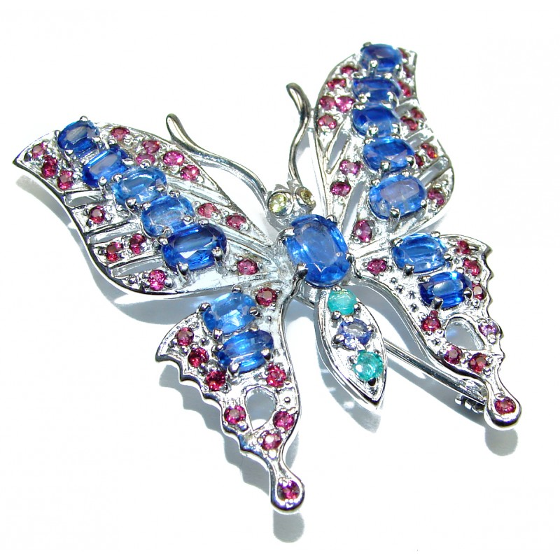 Large Beautiful Butterfly genuine Kyanite .925 Sterling Silver handmade Pendant - Brooch