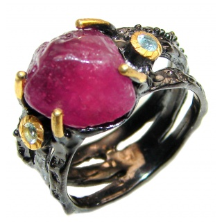 Authentic Rough Ruby black rhodium over 2 tones .925 Sterling Silver Ring size 8 1/2