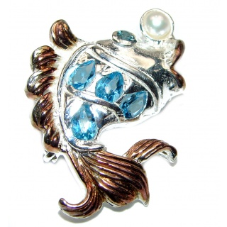 Fish Beauty genuine Swiss Blue Topaz .925 Sterling Silver handmade LARGE Pendant - Brooch