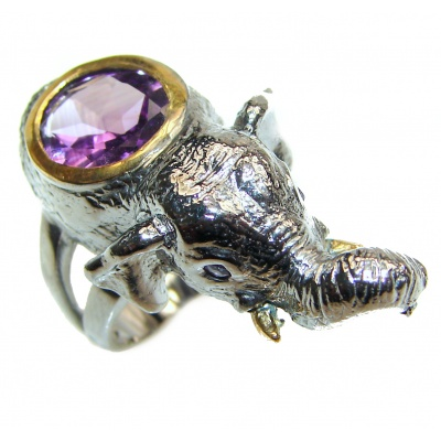 Elephant 24ctw Purple Perfection Amethyst 18K Rose Gold over .925 Sterling Silver Ring size 6 1/2