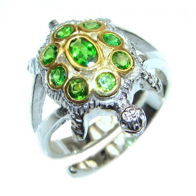 Genuine 2.9ct Chrome Diopside .925 Sterling Silver handcrafted Statement Ring size 7 adjustable