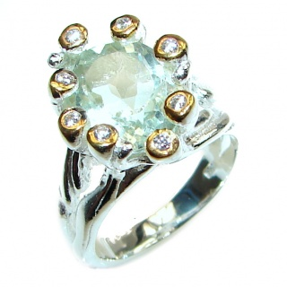 Chunky Green Amethyst .925 Sterling Silver handcrafted ring s. 6