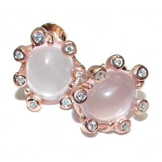 Huge Exclusive genuine Rose Quartz .925 Sterling Silver handcrafted earrings