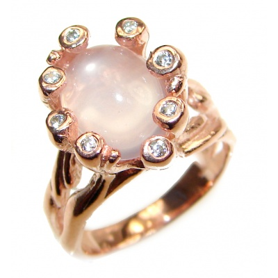 Authentic trillion Rose Quartz .925 Sterling Silver ring s. 6