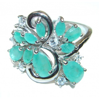 Emerald .925 Sterling Silver handmade Ring size 8