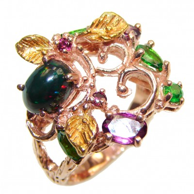 Incredible natural Fire Black Opal 18K Gold over .925 Sterling Silver handcrafted ring size 8