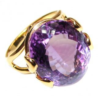 24ctw Purple Perfection Amethyst 18K Rose Gold over .925 Sterling Silver Ring size 9