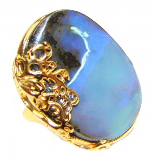 Australian Boulder Opal 14K Gold over .925 Sterling Silver handcrafted ring size 8