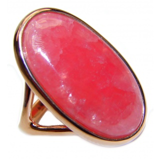 Genuine Argentinian Rhodochrosite 18K Gold over .925 Sterling Silver handcrafted Statement Ring size 7 1/2