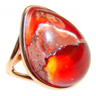 """Magical Aura"" Mexican Opal Rose Gold over .925 Sterling Silver handcrafted Ring size 7 3/4"
