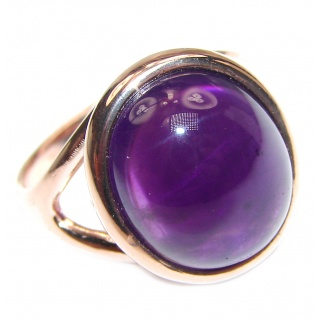 Authentic 35ctw Amethyst rose gold over .925 Sterling Silver brilliantly handcrafted ring s. 7
