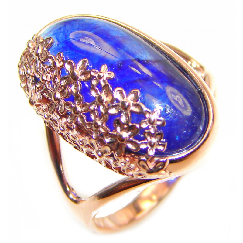 Genuine 27.3ctw Sapphire rose Gold over .925 Sterling Silver handcrafted Statement Ring size 9 1/2