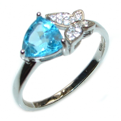 Melissa Genuine Swiss Blue Topaz .925 Sterling Silver handcrafted Statement Ring size 9