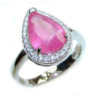 Genuine 0.8 ctw Kashmir Ruby .925 Sterling Silver handcrafted Statement Ring size 7 1/2