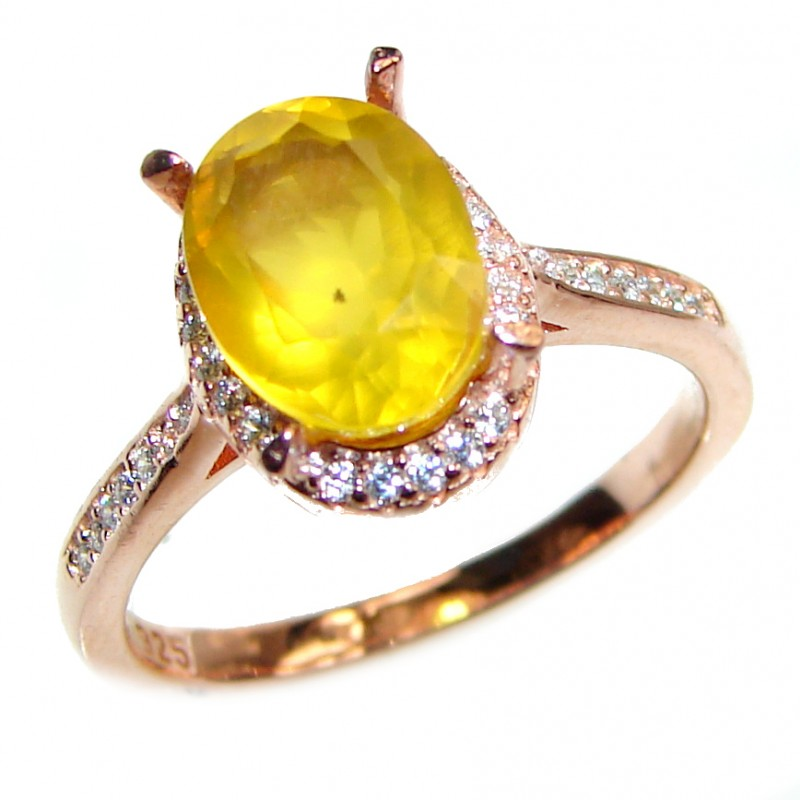 Cocktail Style Natural Citrine .925 Sterling Silver handcrafted Ring s. 8