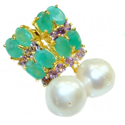 Precious genuine Pearl Emerald .925 Sterling Silver earrings