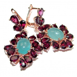 Vintage Beauty Spectacular quality Authentic Grandidierite over 18ctw rose gold .925 Sterling Silver handmade earrings
