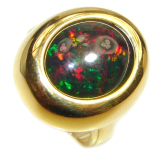 Vintage Design 5ctw Genuine Black Opal 18K Gold over .925 Sterling Silver handmade Ring size 6 1/2