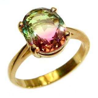 Top Quality Tourmaline 18K Gold over .925 Sterling Silver handcrafted Ring s. 8