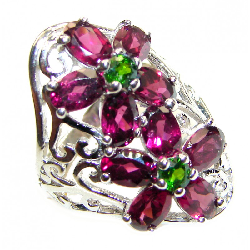 Fabulous natural Red Garnet & Chrome Diopside & .925 Sterling Silver handcrafted ring size 8