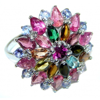 Genuine Watermelon Tourmaline .925 Sterling Silver handcrafted Statement Ring size 8
