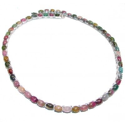 MAJESTIC FAIRYTALE 255ctw( total carat weight) Brazilian Watermelon Tourmaline .925 Sterling Silver handcrafted Statement necklace
