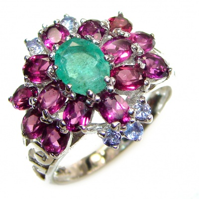 Genuine Colombian Emerald .925 Sterling Silver handcrafted Statement Ring size 8