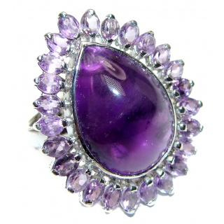 Fabulous natural Amethyst & .925 Sterling Silver handcrafted ring size 9