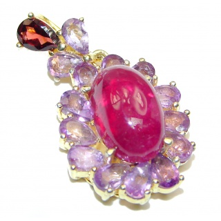 Authentic Kashmir Ruby Amethyst Gold over .925 Sterling Silver Pendant