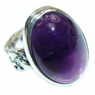 Authentic 35ctw Amethyst .925 Sterling Silver brilliantly handcrafted ring s. 5 1/4