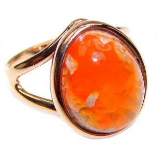 """Magical Aura"" Mexican Opal Rose Gold over .925 Sterling Silver handcrafted Ring size 7 1/4"
