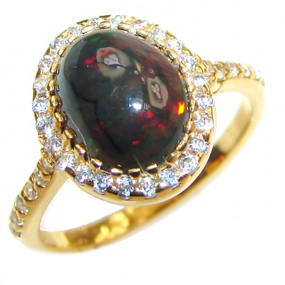 Vintage Design 2.5ctw Genuine Black Opal 14K Gold over .925 Sterling Silver handmade Ring size 6