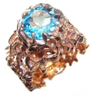 Poseidon Swiss Blue Topaz 18K Gold over .925 Sterling Silver handmade Ring size 6 1/2