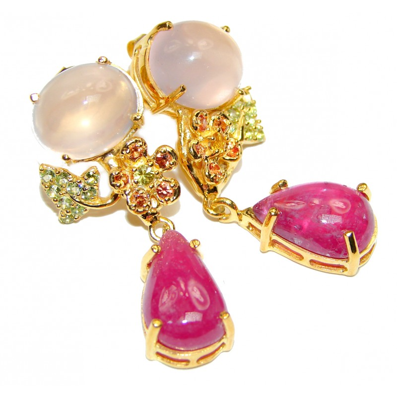 Spectacular genuine Ruby 18k Gold over .925 Sterling Silver handcrafted earrings