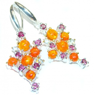 Earth Treasure Authentic Mexican Fire Opal .925 Sterling Silver handcrafted statement earrings