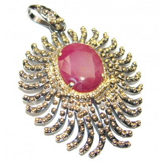 Authentic Kashmir Ruby .925 Sterling Silver handcrafted Pendant