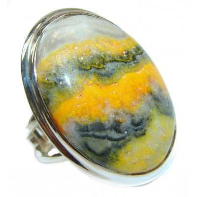 Vivid Beauty Yellow Bumble Bee Jasper .925 Jasper Sterling Silver LARGE ring s. 8 adjustable