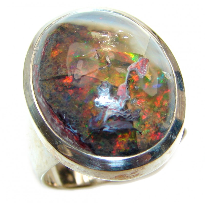 A RAINBOW WONDERLAND Mexican Opal .925 Sterling Silver handcrafted Ring size 7