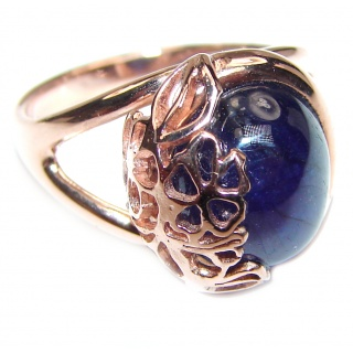 Genuine 15.1ctw Sapphire rose Gold over .925 Sterling Silver handcrafted Statement Ring size 7 1/4