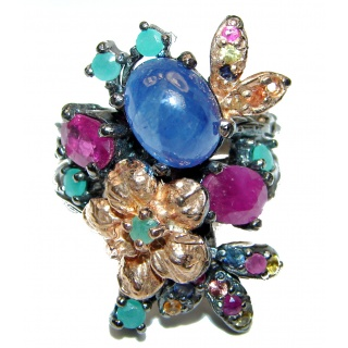 Incredible Bouquet Sapphire ruby Emerald .925 Sterling Silver handcrafted ring size 8
