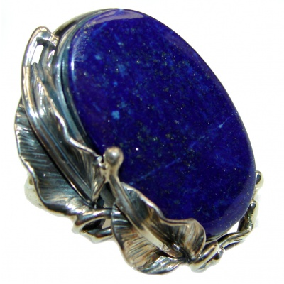 LARGE Natural Lapis Lazuli .925 Sterling Silver handcrafted ring size 9 adjustable