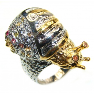 Huge Golden Snail .925 Sterling Silver handmade HUGE Ring size 8 1/4