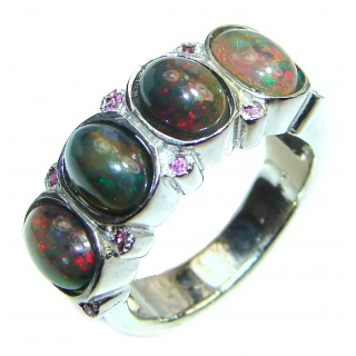 Vintage Design Genuine Black Opal .925 Sterling Silver handmade Ring size 8 1/2