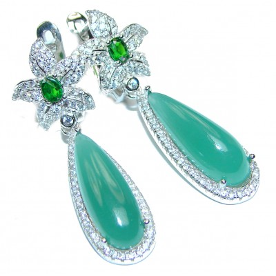 Very Unique Green Jade .925 Sterling Silver handcrafted earrings