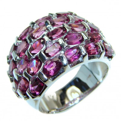 Dazzling natural Red Garnet & .925 Sterling Silver handcrafted ring size 8 1/2